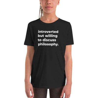 The Philosopher's Shirt Kids Shirt introverted but willing to discuss philosophy. <br><br>Kids T-Shirt