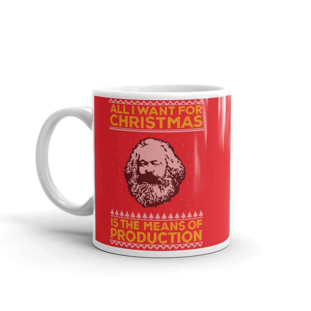 The Philosopher's Shirt Mug Marx - All I Want For Christmas Is The Means Of Production - Ugly Sweater Design