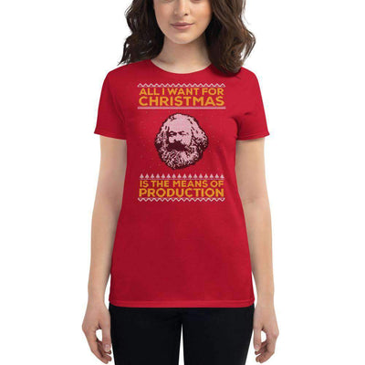 The Philosopher's Shirt Women's T-Shirt Marx - All I Want For Christmas Is The Means Of Production - Ugly Sweater Design