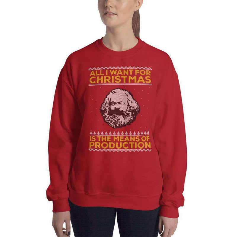The Philosopher's Shirt Sweatshirt Marx - All I Want For Christmas Is The Means Of Production <br><br>Sweatshirt