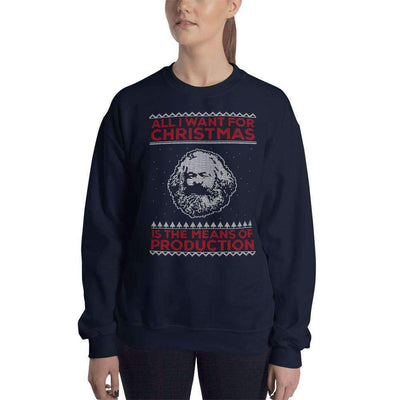 The Philosopher's Shirt Sweatshirt Marx - All I Want For Christmas Is The Means Of Production - Ugly Sweater Design