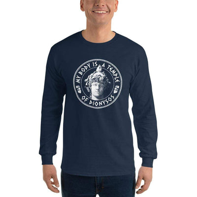 The Philosopher's Shirt Long-Sleeve Tee My Body Is A Temple Of Dionysos <br><br>Long-Sleeved Shirt