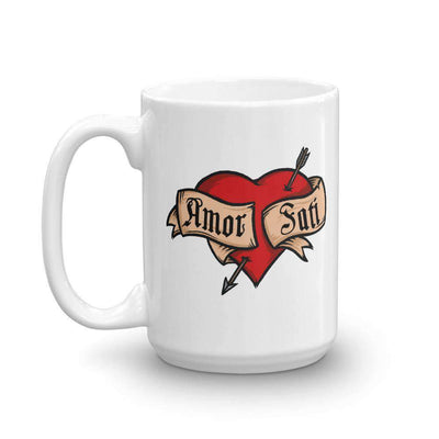 The Philosopher's Shirt Mug Nietzsche Fatalism Amor Fati Tattoo Heart