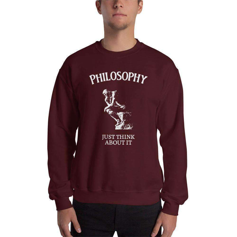 The Philosopher's Shirt Discounted - Sweatshirt Philosophy - Just Think About It <br><br> Sweatshirt - Maroon / L - Discounted