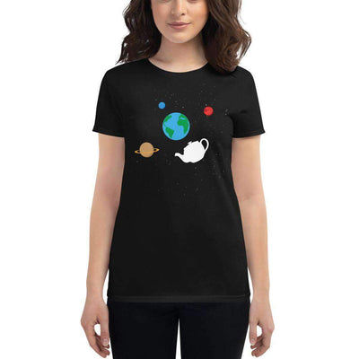 The Philosopher's Shirt Women's T-Shirt Russell's Teapot Floating in Space