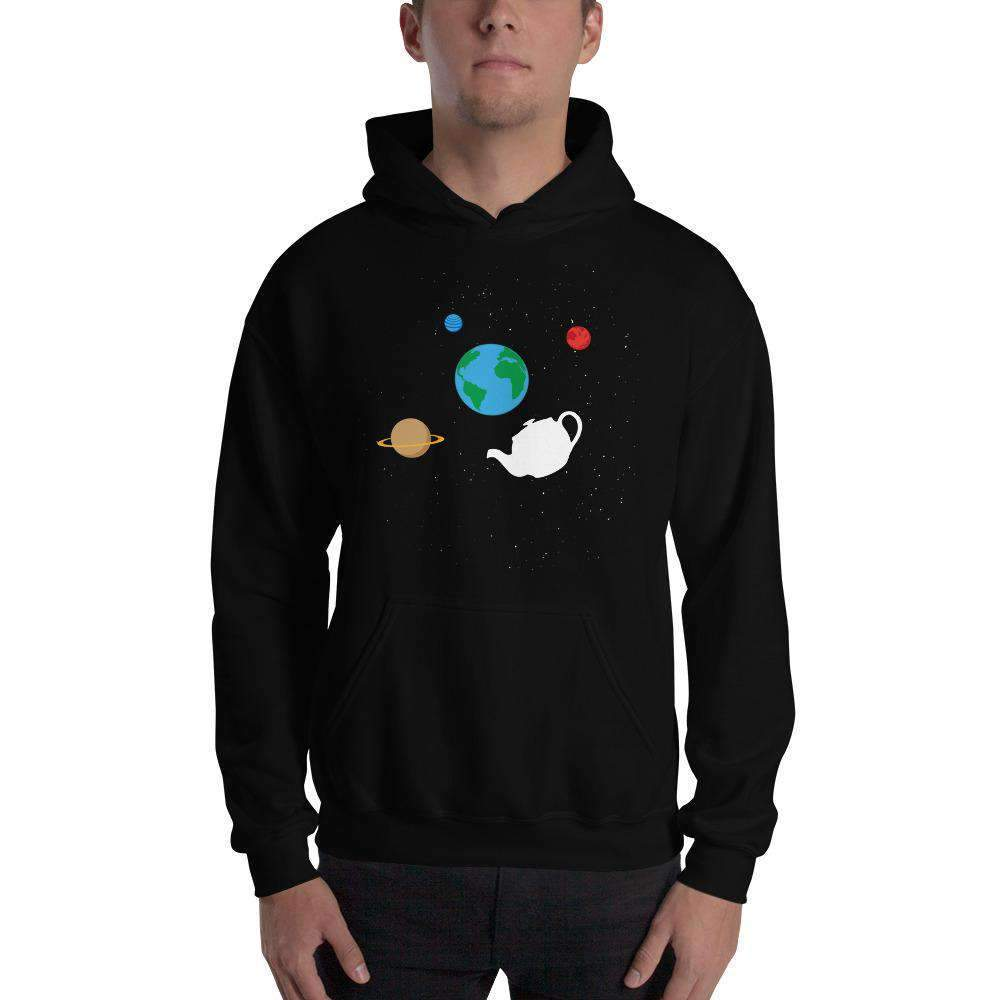 The Philosopher's Shirt Hoodie Russell's Teapot Floating in Space