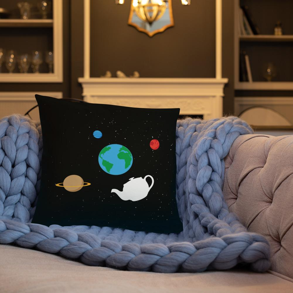 The Philosopher's Shirt Russell's Teapot Floating in Space <br><br>Pillow