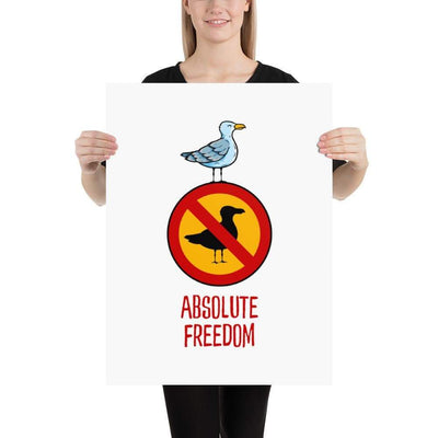 The Philosopher's Shirt Sartre - Absolute Freedom Seagull <br><br>Poster