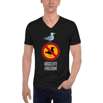 The Philosopher's Shirt Unisex V-Neck Shirt Sartre - Absolute Freedom Seagull <br><br>Unisex V-Neck T-Shirt