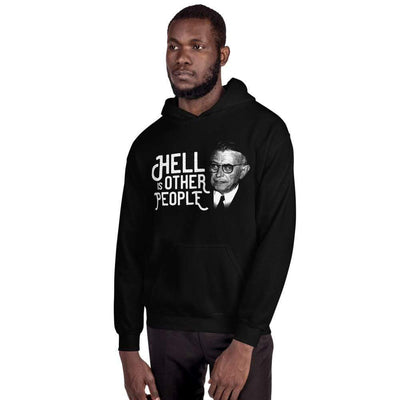 The Philosopher's Shirt Hoodie Sartre Portrait - Hell is other people <br><br>Hoodie