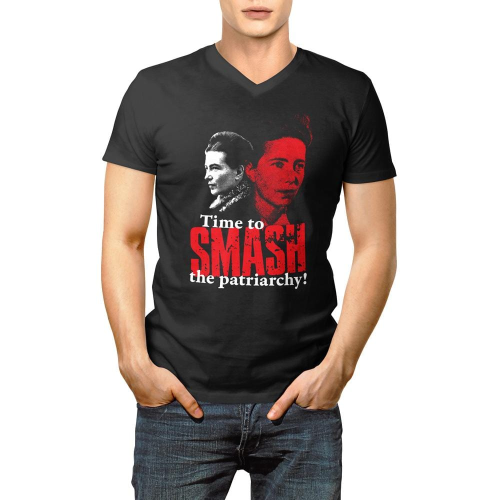 Time to SMASH the patriarchy! by Simone de Beauvoir <br><br>Unisex V-Neck T-Shirt