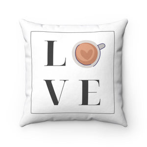 Coffee Love Spun Polyester Square Pillow Case