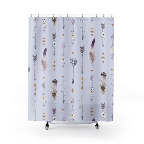 Beautiful Gray Bohemian Feathers and Flowers Shower Curtain