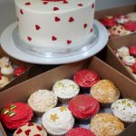 Red & Gold cake and cupcakes