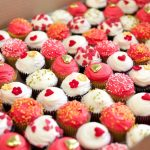 Red, white and gold cupcakes
