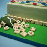 Scrabble birthday cake