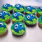 Piped Flik cupcakes, ready for their big moment