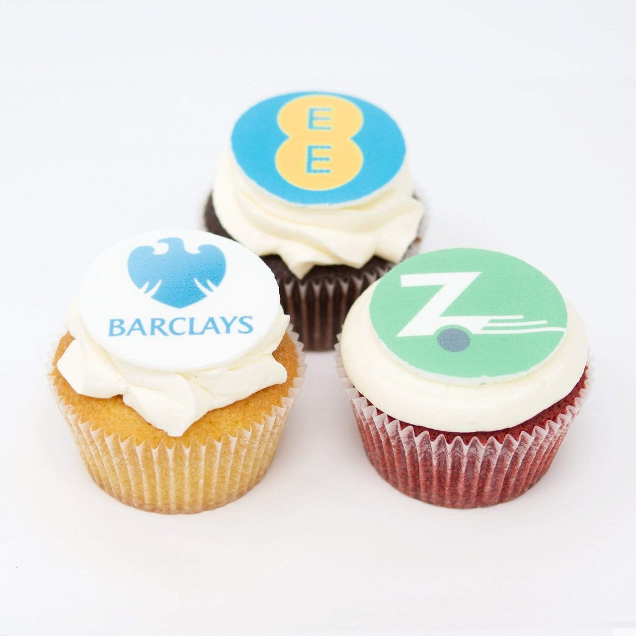 mixed flavour branded cupcakes with white icing