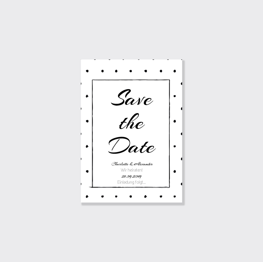 Black Dotted | Printable DIY Save the Date Karte