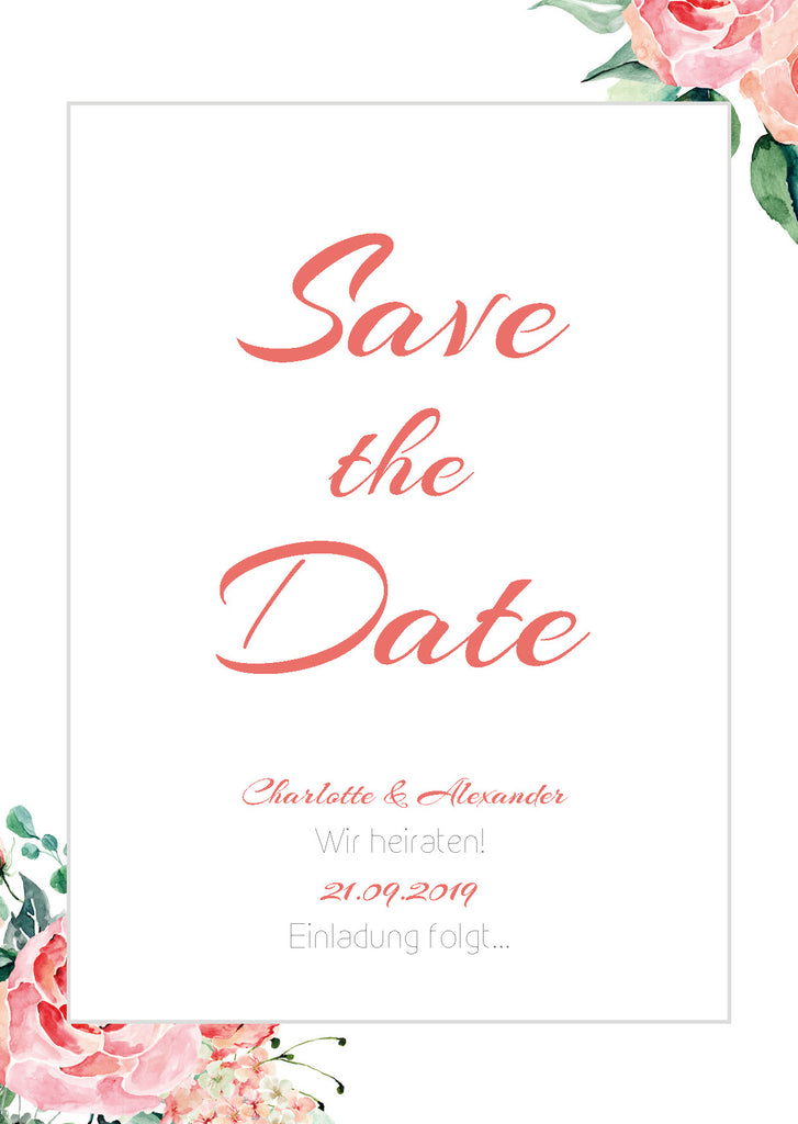 Blooming Day | Printable DIY Save the Date Karte zum Slebstdrucken