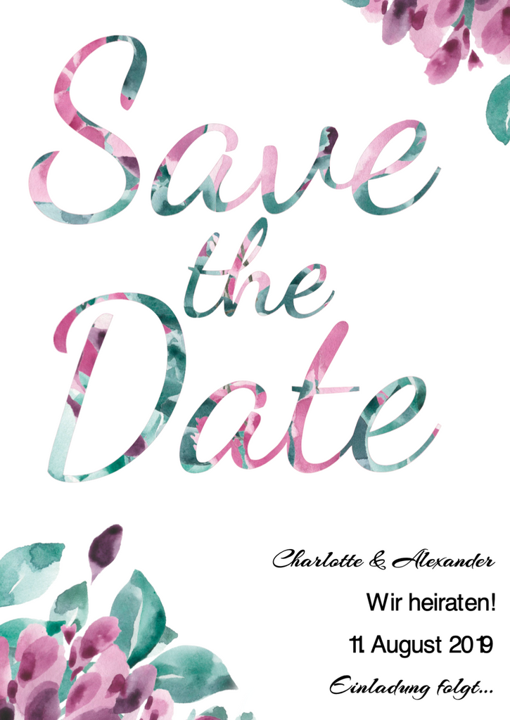 Floral Time | Printable DIY Save the Date Karte