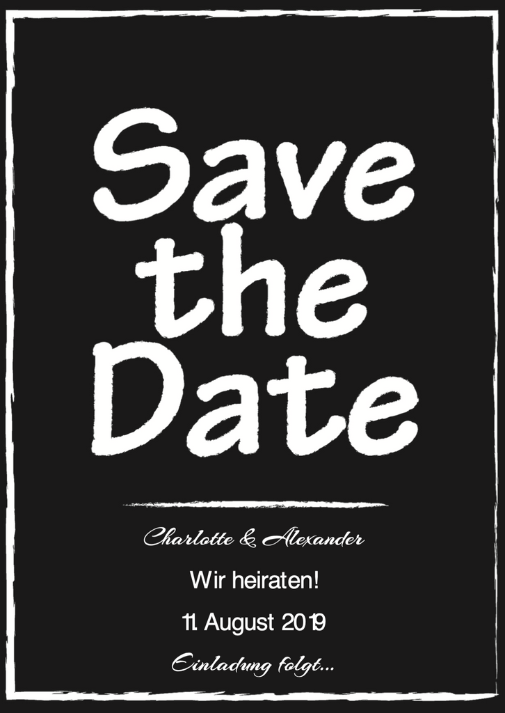 Black&White Clean | Printable DIY Save the Date Karte