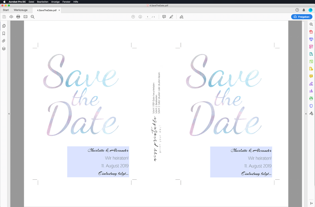 Cloudy Dreams | Printable DIY Save the Date Karte
