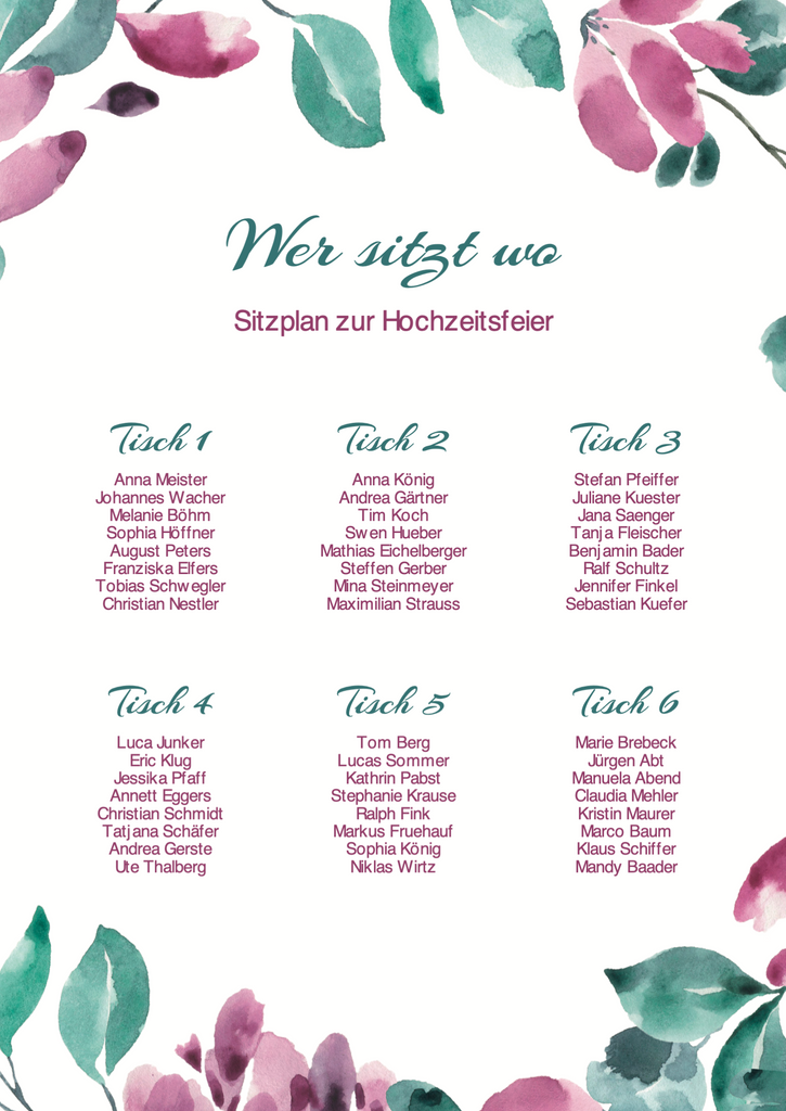 Floral Time | Printable DIY Tischplan A3