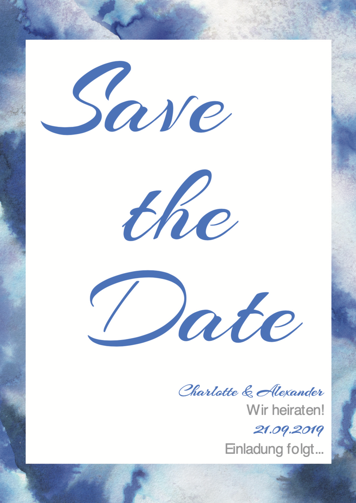 Watercolour Deep Sea | Printable DIY Save the Date Karte