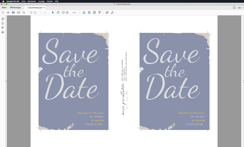 Golden Progress | Printable DIY Save the Date Karte