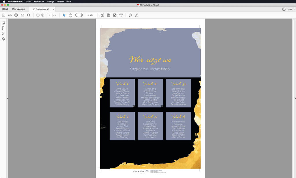 Golden Progress | Printable DIY Tischplan A3