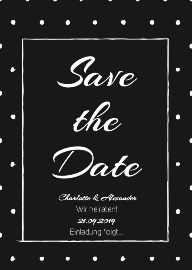 White Dotted | Printable DIY Save the Date Karte