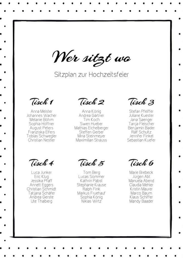 Black Dotted | Printable DIY Tischplan A3