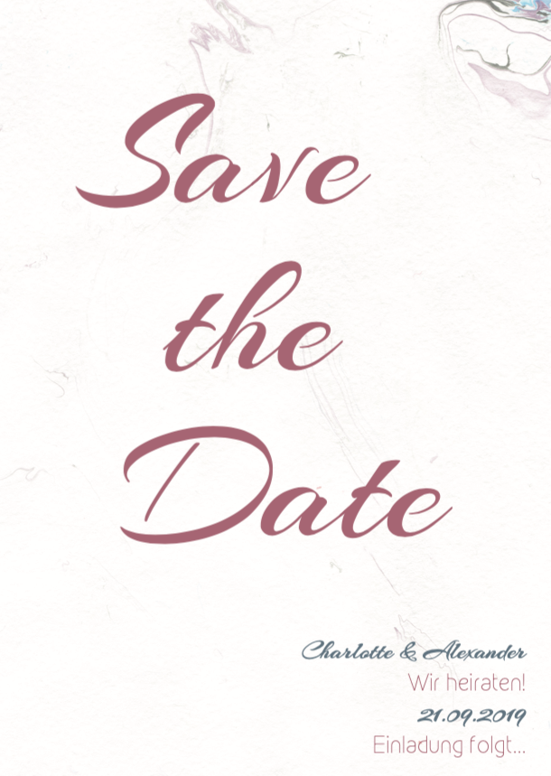 Grey Marble | Printable DIY Save the Date Karte