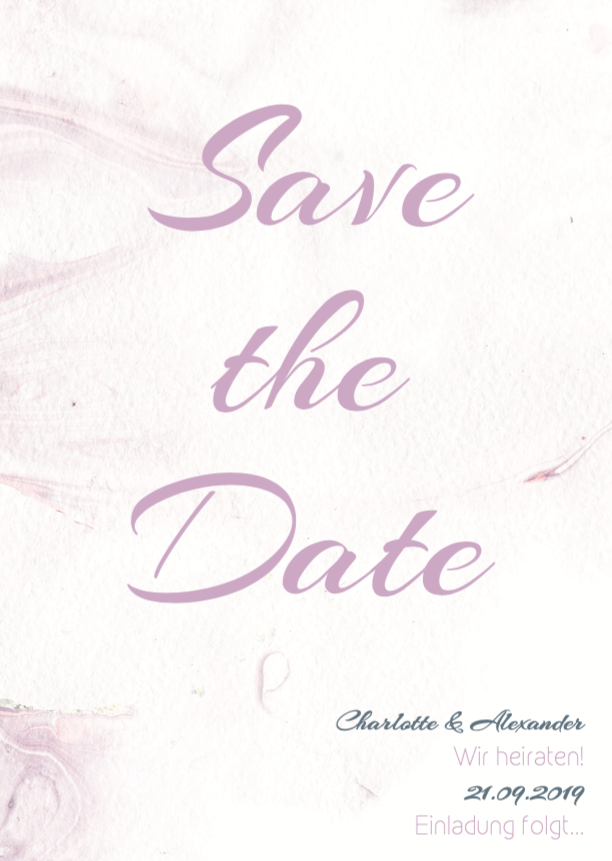 Pink Marble | Printable DIY Save the Date Karte