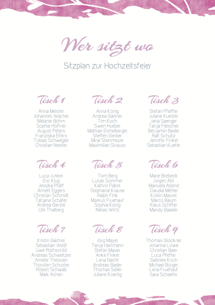 Clean Love | Printable DIY Tischplan A3
