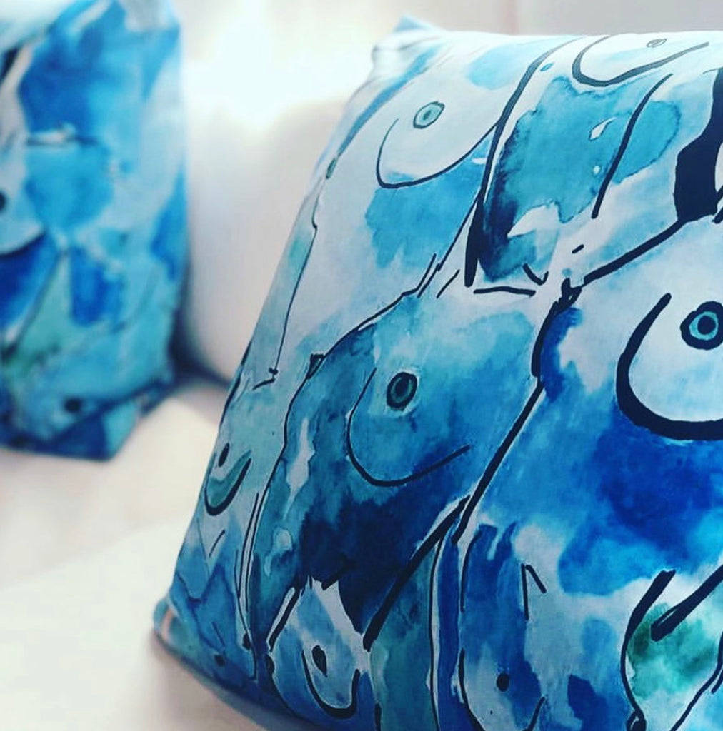 Blue Boobs Pillow