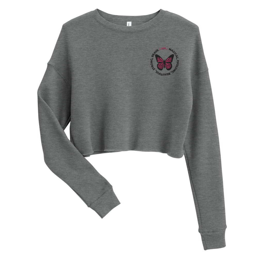 Pink Butterfly Embroidered Cropped Sweatshirt