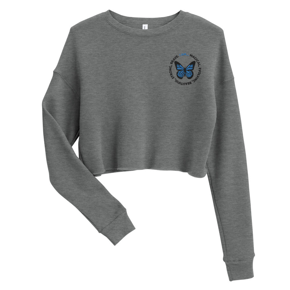 Blue Butterfly Embroidered Cropped Sweatshirt