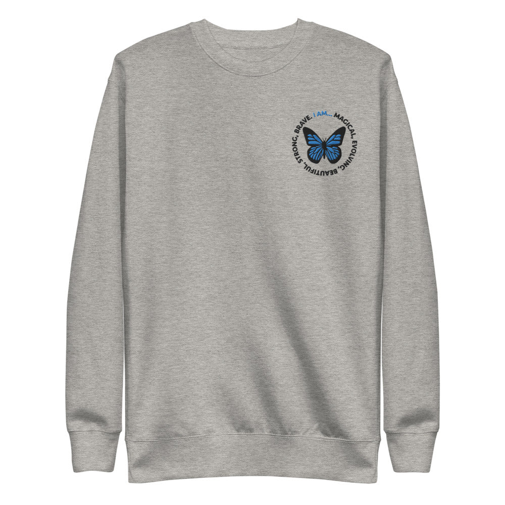 Blue Butterfly Embroidered Crewneck Sweatshirt