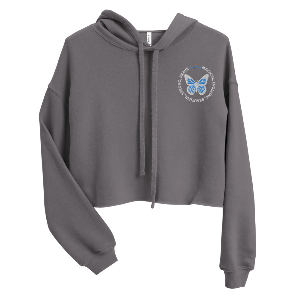 Blue Butterfly Embroidered Cropped Hoodie Sweatshirt