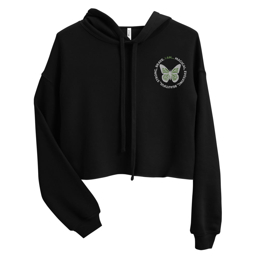 Green Butterfly Embroidered Cropped Hoodie Sweatshirt