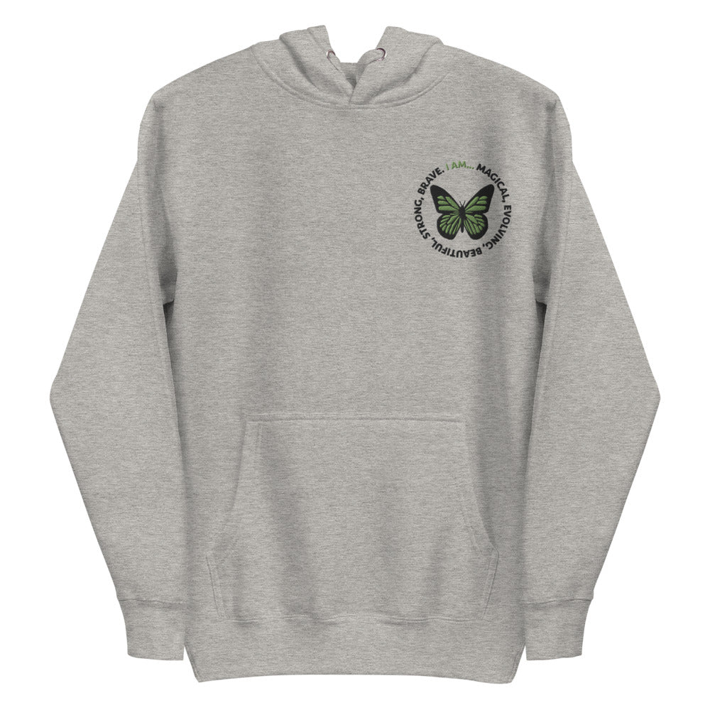 Green Butterfly Embroidered Hoodie Sweatshirt
