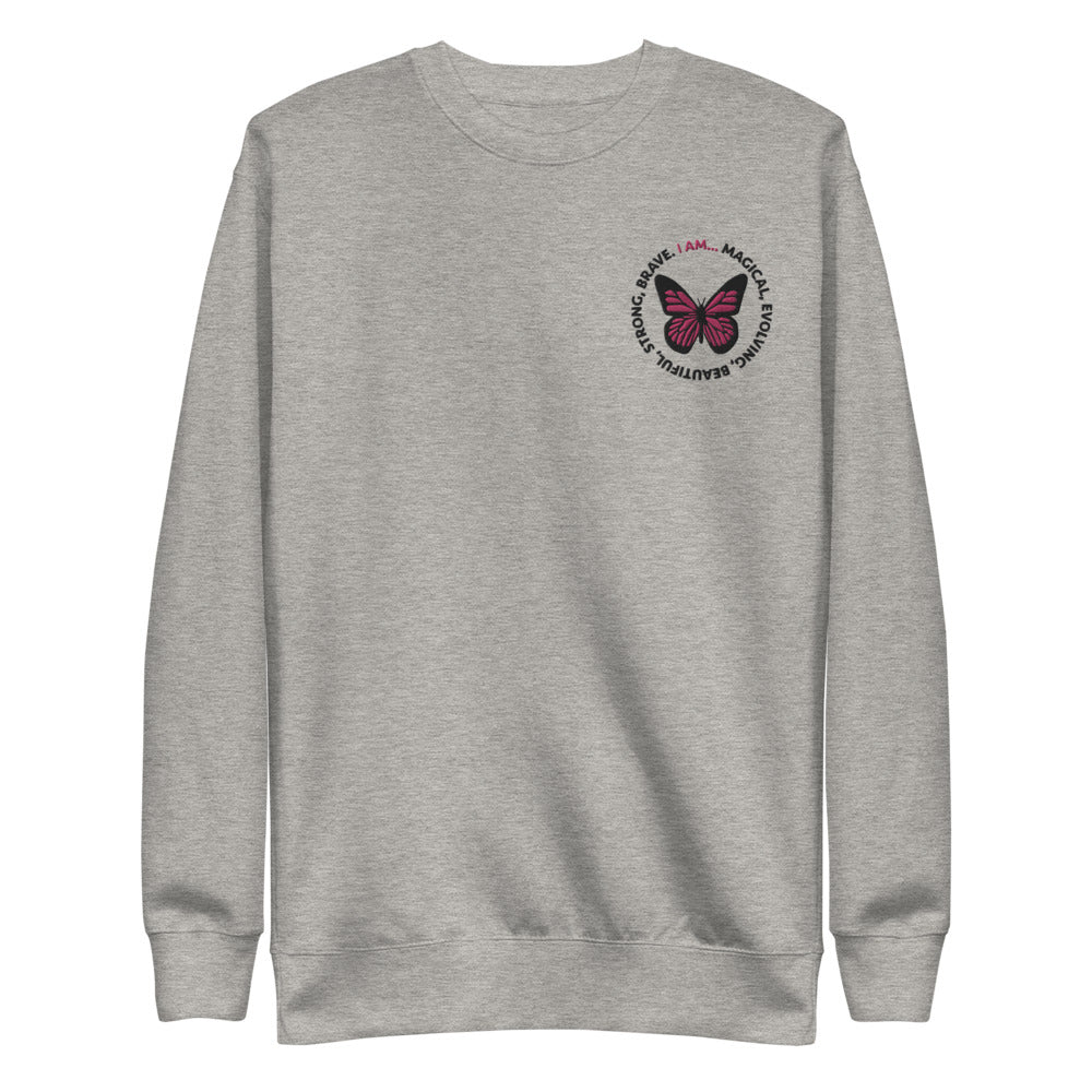 Pink Butterfly Embroidered Crewneck Sweatshirt