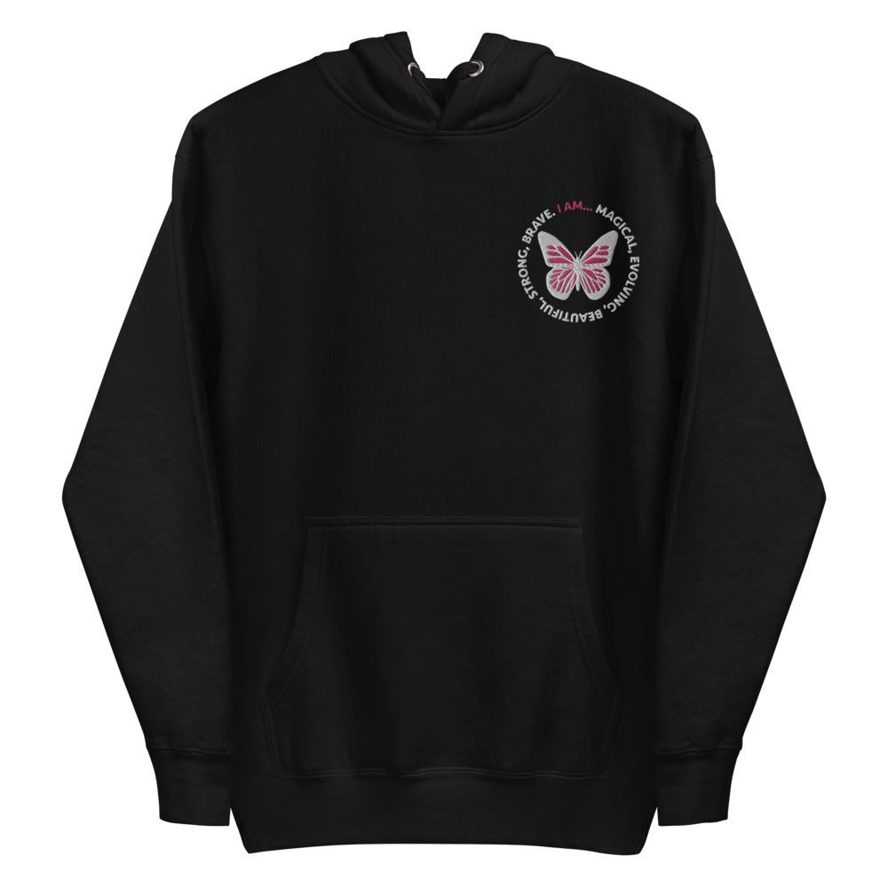 Pink Butterfly Embroidered Hoodie Sweatshirt