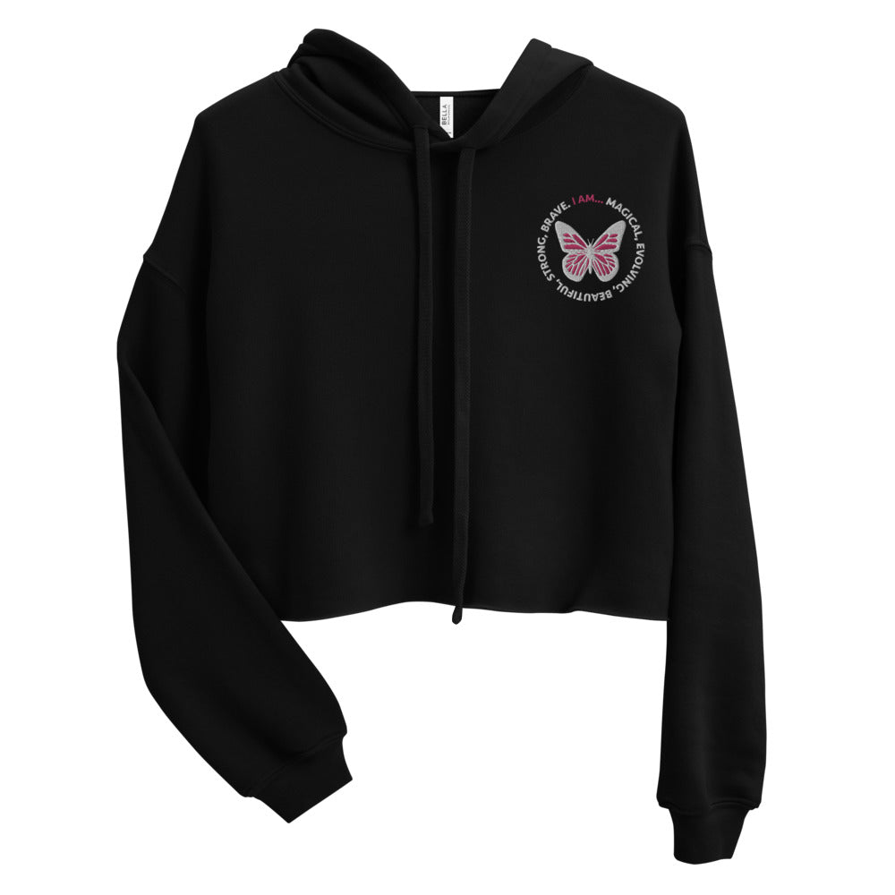 Pink Butterfly Embroidered Cropped Hoodie Sweatshirt