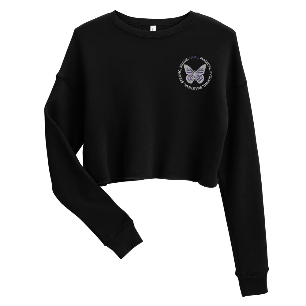 Purple Butterfly Embroidered Cropped Sweatshirt