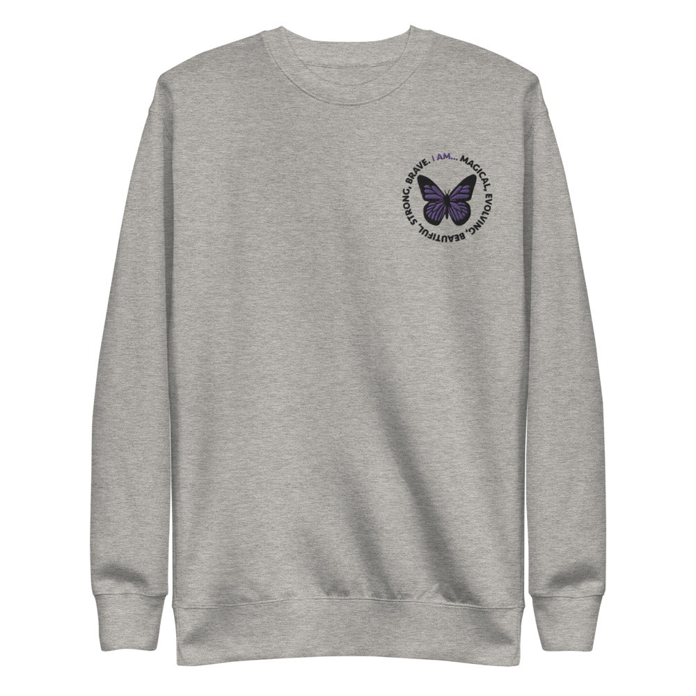 Purple Butterfly Embroidered Crewneck Sweatshirt
