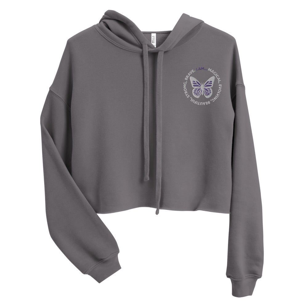 Purple Butterfly Embroidered Cropped Hoodie Sweatshirt