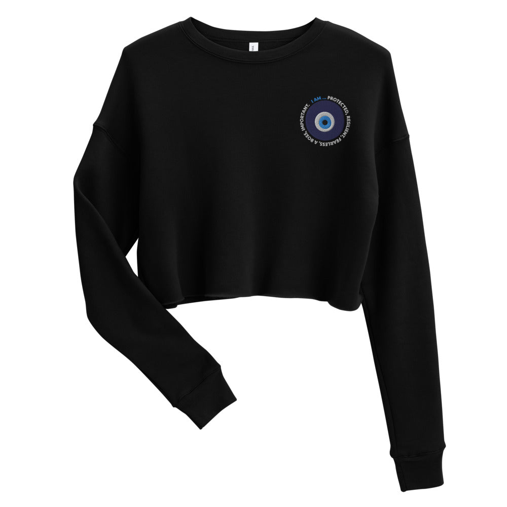 Evil Eye Embroidered Cropped Sweatshirt